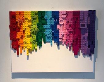 Brick block mosaic wall art rainbow effect