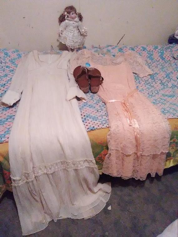 Dolls dresses shoes/sandals cotton lace pink white
