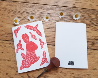 RABBIT FLOWERS CARD. greeting card. Birthday | Birth. Pretty mail. with or without envelope