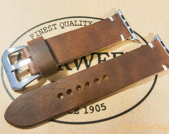 HORWEEN Leather Apple Watch band 38mm, 42mm, Nut Brown, Apple Watch Strap, Apple Watch Leather, Apple watch, iWatch Band.