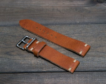 Leather Watch Band, English Tan color, Horween leather watch strap, Handmade in Finland  - 16, 17, 18, 19, 20, 21, 22, 23, 24 mm.