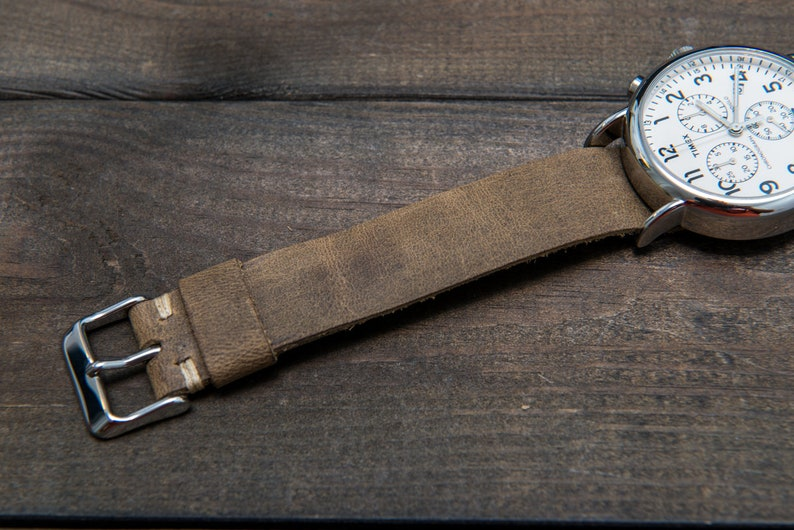 b0531da2c68 Horween Leather Watch Band Military olive one piece watch