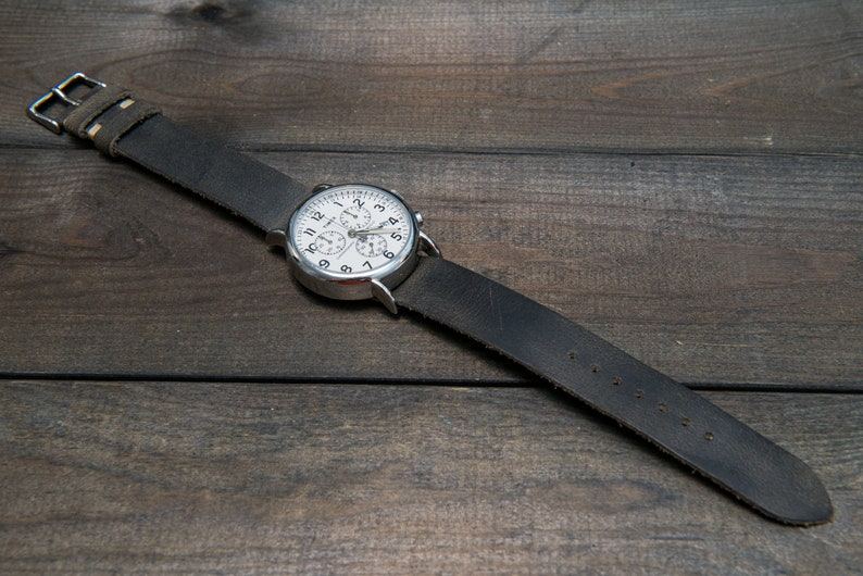 7ca92d19d25 Horween Leather Watch Band Military gray one piece watch
