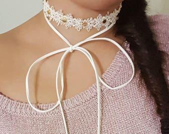 Crystal Choker, Wrap Necklace, Ivory Choker, Contemporary Choker, Bridal Choker, Modern Necklace, Wrap Choker Necklace, Lace Choker Necklace