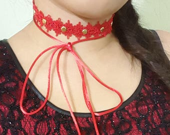 Crystal Choker, Lariat Choker, Wrap Necklace, Red Choker, Modern Choker, Statement Necklace, Wrap Choker Necklace, Contemporary Necklace