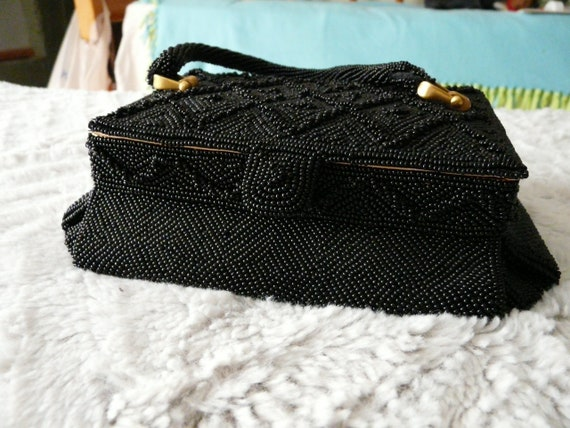 Heavy Beaded Structured Evening Bag, circa 1950's