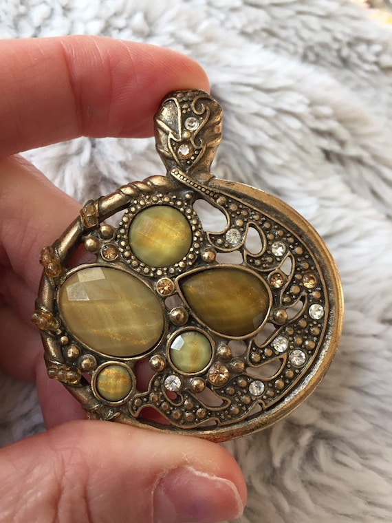 Faceted Optic Glass and Rhinestone Pendant