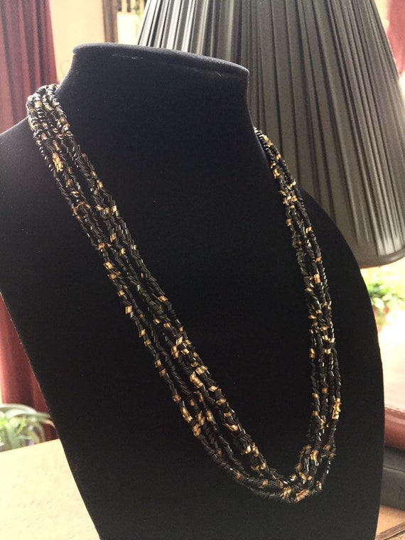 Multi Strand Angle Cut Black and Gold Glass Bead Necklace