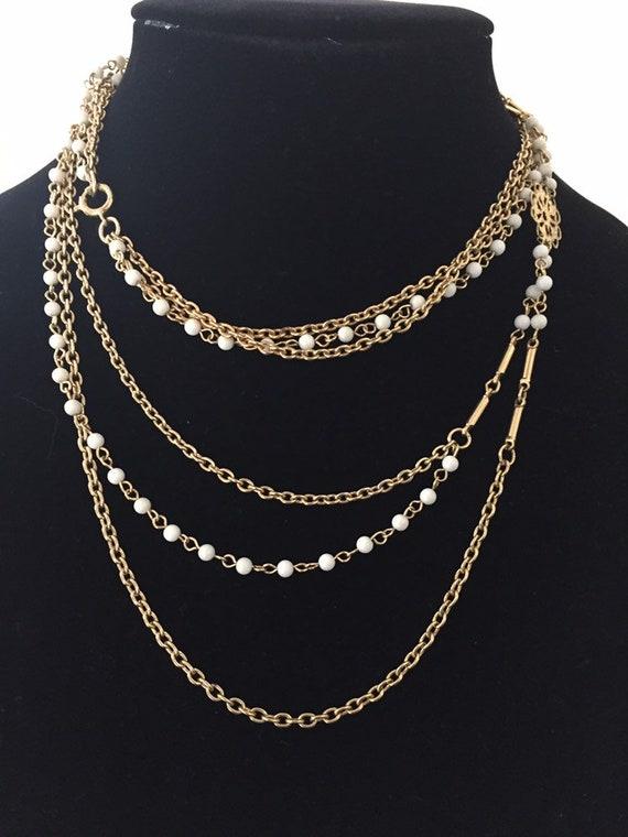 Art Deco Uranium Glass Multi Chain Necklace