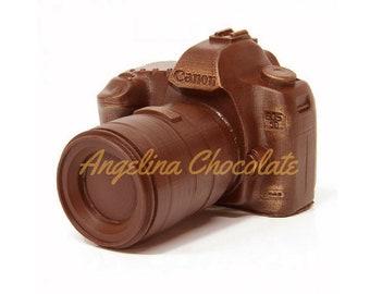 Chocolate camera in gift box photographer camera lens photo thank you gift wedding
