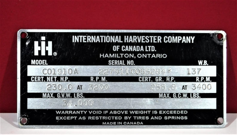 INTERNATIONAL HARVESTER TRUCK  Serial Number & Data Plate   1983   CO190  Series Chassis