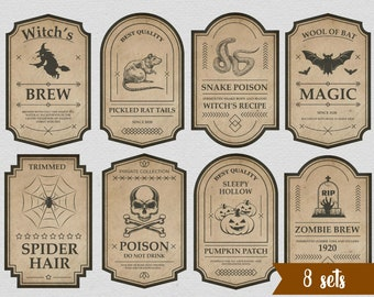 Halloween Potion Apothecary Bottle Labels includes PDF JPG digital download