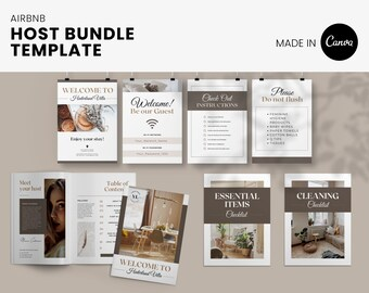 Airbnb Host Super Bundle including welcome book, cleaning checklist, wifi sign, guidebook and more, editable in Canva