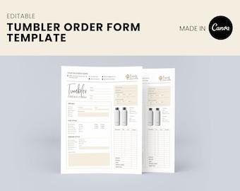 Tumble Order Form Canva Template, editable template, tumbler seller