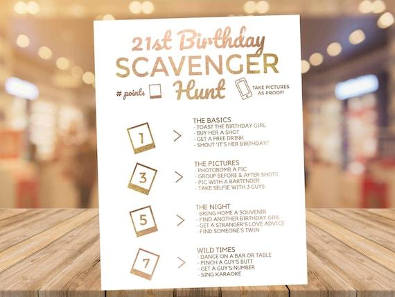21st Birthday Scavenger Hunt Phone Game Rose Gold Etsy