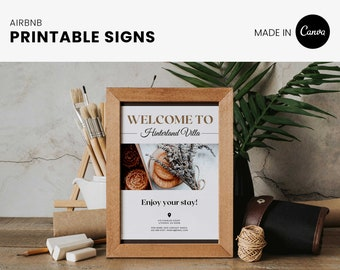 Airbnb Host printable signs, welcome poster, signage that is editable and customizable for your short term rental
