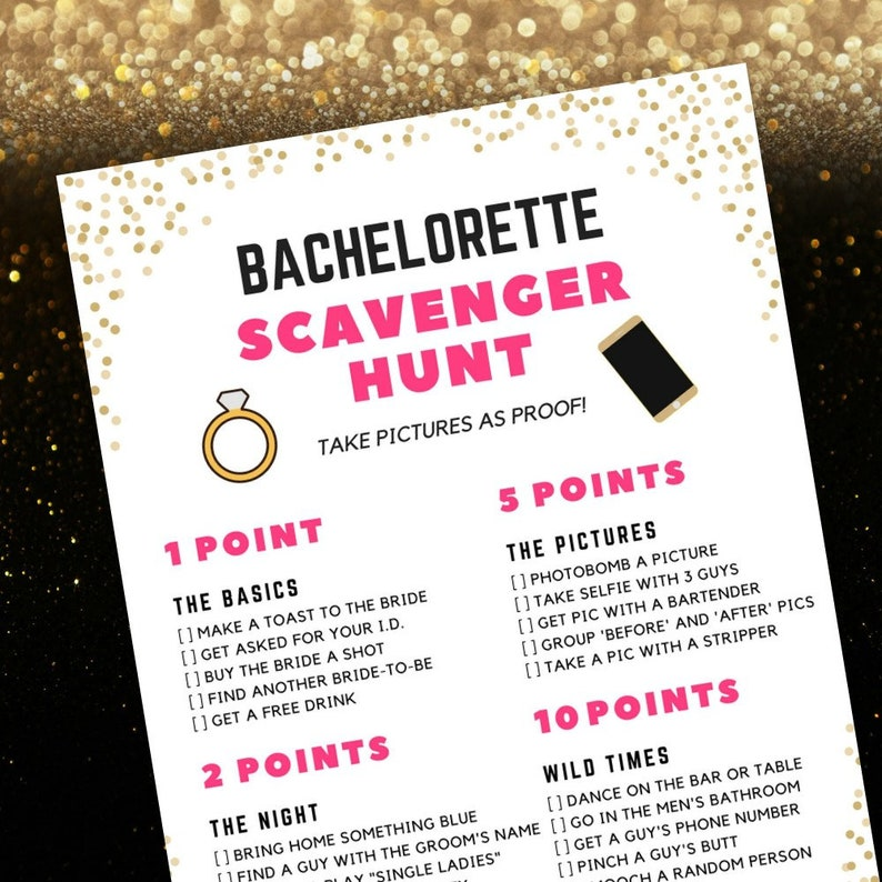 photograph relating to Printable Bachelorette Games identified as Bachelorette Scavenger Hunt Match Bachelorette Get together Recreation Printable