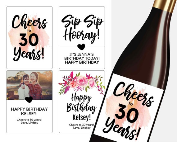 30th Birthday Gift For Her Wine Label Template Etsy