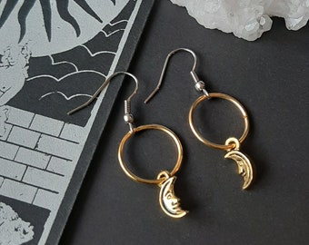 gothic Equinoxart Black agate snake earrings Witch pagan alternative