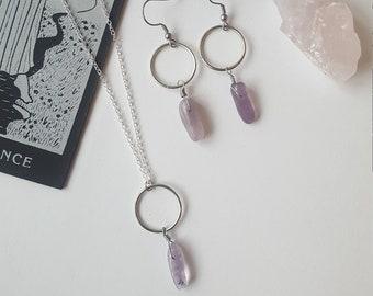 Amethyst minimal jewelry duo - Boho, Witchy, stones, alternative, goth, gothic, romantic, crystal, Equinoxart
