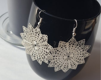 Filigree metal earrings - Boho, Witchy, alternative, tribal, nowflakes, Equinoxart