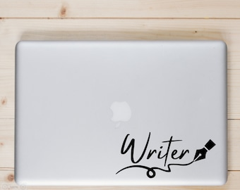 Writer - Sticker for Writers, laptop, office, window - Vinyl Decal - Various Colors, FREE Shipping, Writer Gifts, Book Lover