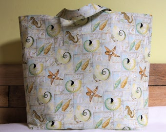 Tote, Shells and starfish, pool tote, Summer Tote, mint and tan