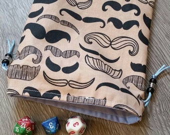 Drawstring Dice Bag - Mustaches