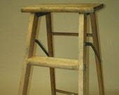Vintage 2 Step Wood Ladder Folding Plant Stand Farmhouse Display Rustic Wooden Decor 1960 39 s