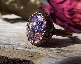Purple Opal Ring - Amethyst Fire Opal Ring - Antiqued Copper Opal Ring - Purple Dragons Breath Opal Ring - Copper Opal Ring - Copper Flower