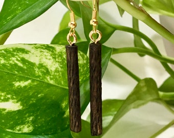 Distressed Wood Earrings / Unique Wood Earrings / Wood Dangle Earrings