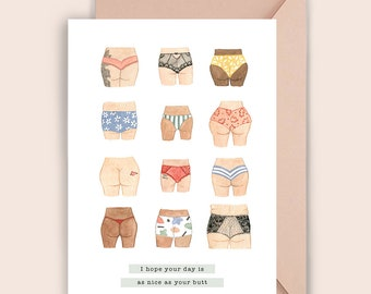 Cheeky Girls Birthday Love Greeting Card / Gift for Best Friend Birthday Card / Butt Birthday Card  illustration Print / Love Friendship