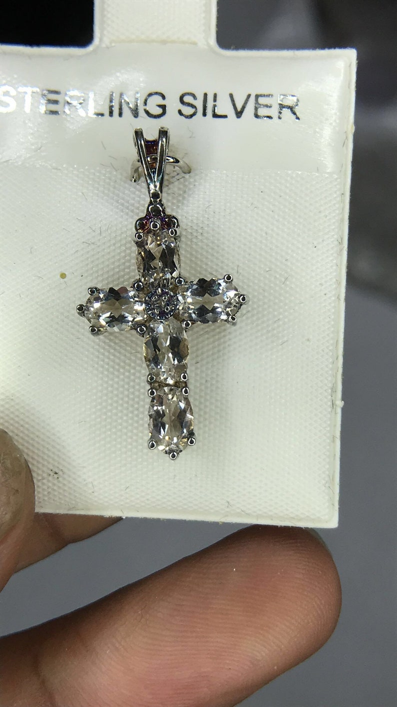 White Topaz Sterling Silver Cross Pendent