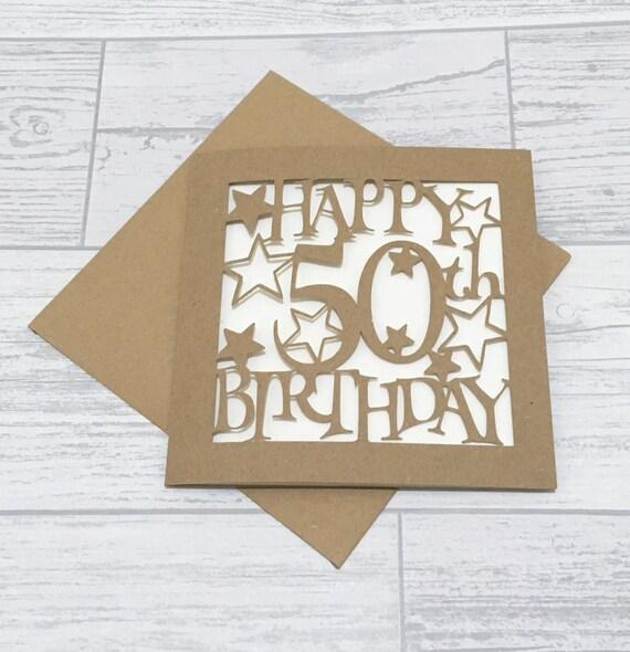 50th Birthday Card Fiftieth Birthday 50th Card Happy 50th Etsy