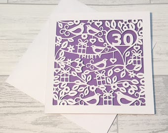 30th Birthday Card, Birthday Card, Birthday Girl, Personalised Card, Thirty, Happy 30th Birthday, 30th Birthday, Papercut Card