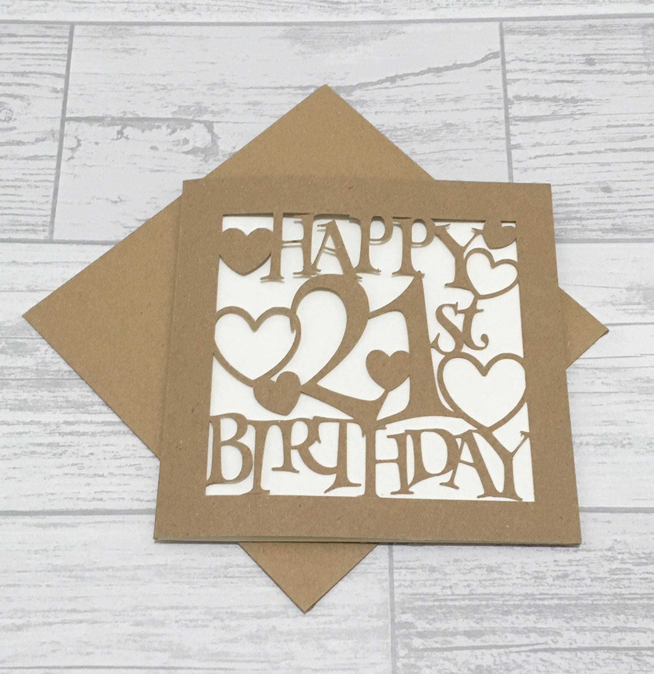 21st Birthday Card Kraft Paper Cut Card