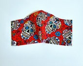 Halloween Sugar Skulls Fabric Face Mask, Filter Pocket, Toddler Kids Adult Mask with Nose Wire, Protective Face Covering, Ear Elastic Mask