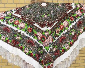 Shawl | wrap | cover up |   shawl with flowers and fringes | Ladies shawl | Chale russe | Pashima Boho shawl |
