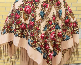 Ukrainian shawl | Russian shawl | chale russe | floral scarf | floral shawl | tablecloth | for Mother's Day |