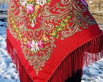 Russian shawl    babushka shawl   boho shawl   Russian craft   Ukrainian hustka   Present for Mother's Day  