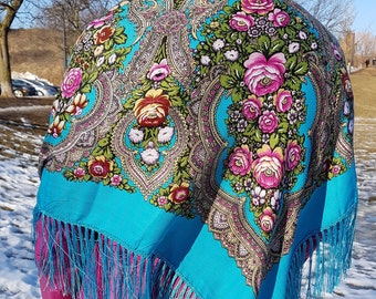 Russian scarf   floral scarf   babushka shawl   Ukrainian shawl  chale russe   Present for Mother's Day  