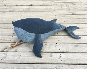 Blue whale stuffed animal, stuffed animal, stuffed toy, whale, denim