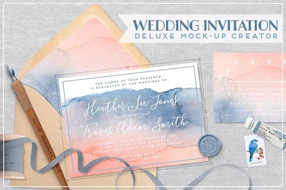 Wedding Invitation Mockup Flat Lay Wedding Suite Mockup Etsy
