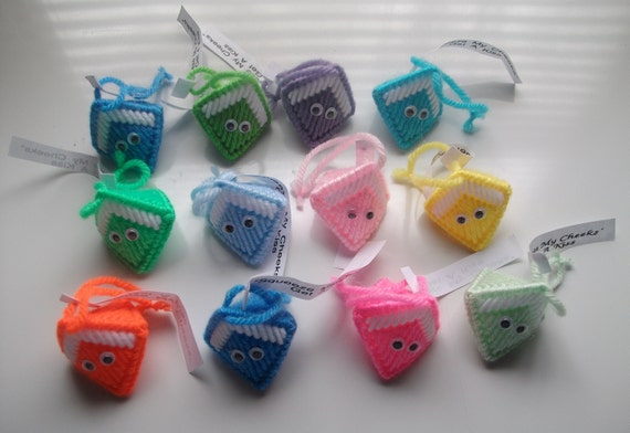 Party Favors 24 ct. Assorted Colors Halloween Handouts CLEARANCE  Halloween Squeeze My Cheeks get a Kiss Handmade Candy Kiss Holder