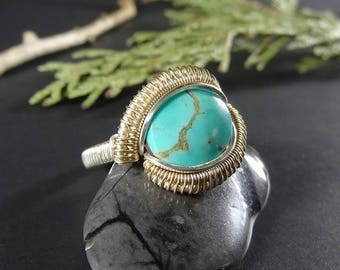 SIZE 7.5 / Tyrone Turquoise / 14k Gold-fill & Sterling Silver
