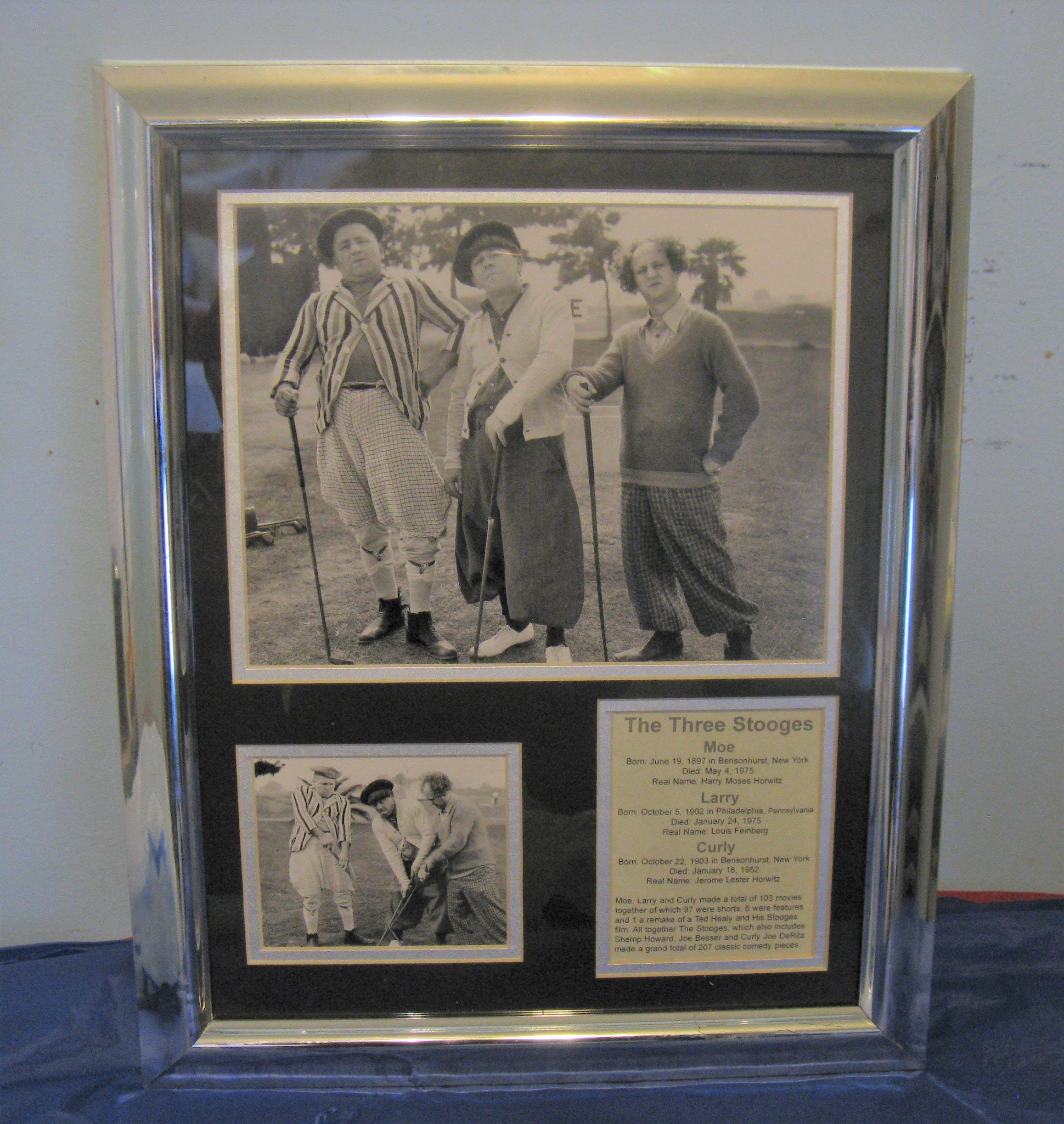 Vintage Three Stooges Photo Collage Wall Art TV Comedy Memorabilia (Framed)