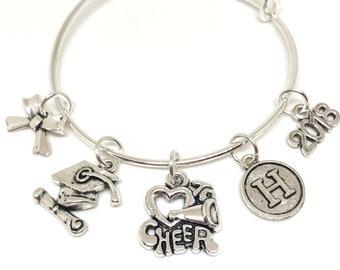 Personalized GRADUATE Cheerleading Bracelet, Cheerleader Charm Bracelet, Cheerleading Jewelry, Cheerleading Gift, Graduation Gift, Graduate
