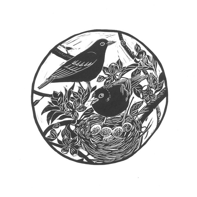 Spring Original Linoprint Card image 0