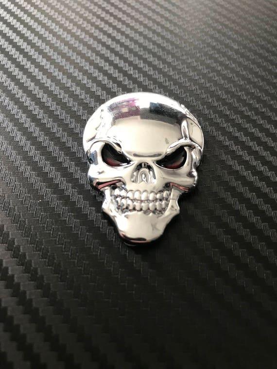 Decal Metal Chrome Skull Cross Car Badge Emblems Seft-Adhesive Silver Gold Black