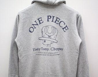 cf4c4766 Vintage ONE PIECE Tony Tony Chopper Japanese Anime Gray Hoodies Zipper  Sweater Sweatshirt Size M